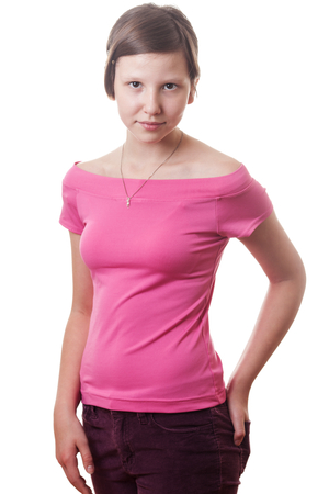 collarbone: Teenage girl wearing pink blouse isolated on white