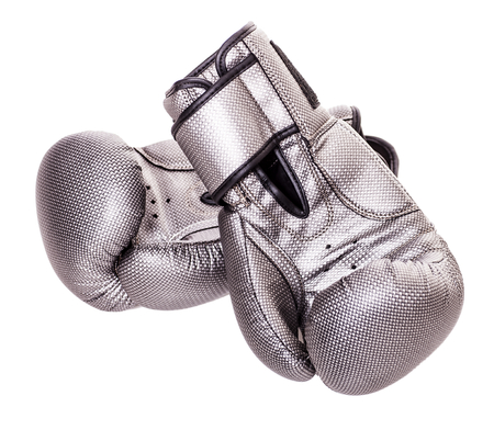 Grey boxing gloves isolated on white background