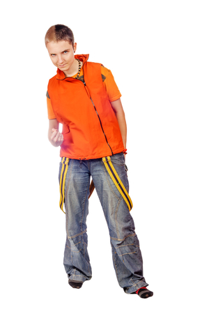 Aggressive teenager looking at you isolated on white Stock Photo
