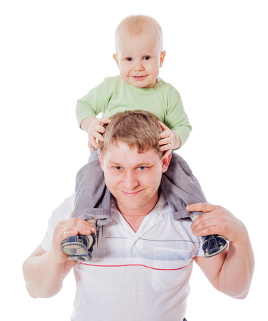 Happy Father holding son on neck isolated on white