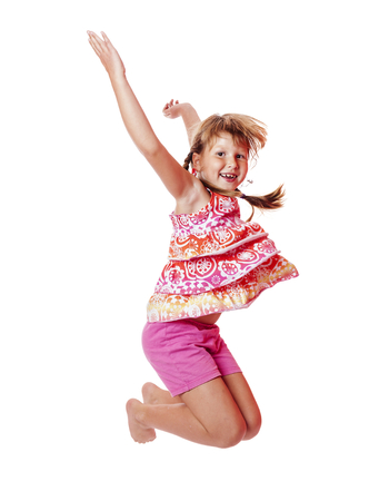 Happy excited Jumping girl isolated on white