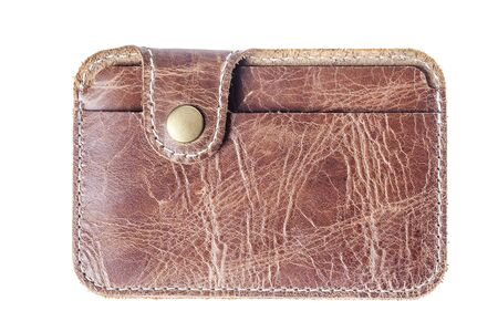 cardholder: Brown leather card holder isolated. Closed id card holder