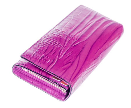 clutch bag: Nice pink female wallet isolated on white