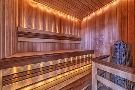 Sauna room interior Finnish heat bath made of natural wood