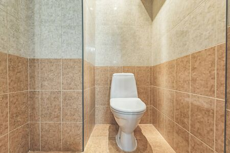 White mounted toilet bowl in modern bathroom with mirror and toilet brush Reklamní fotografie