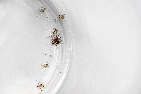 black mold on a glass transparent plate dirty dishes fungus Stock Photo
