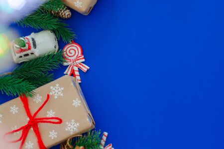Christmas and New Year holidays blue background Stock Photo