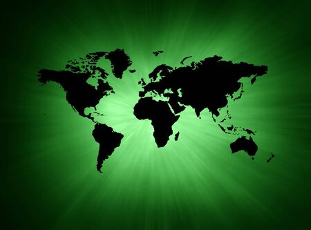 Green and black abstract illustration background with map illustration