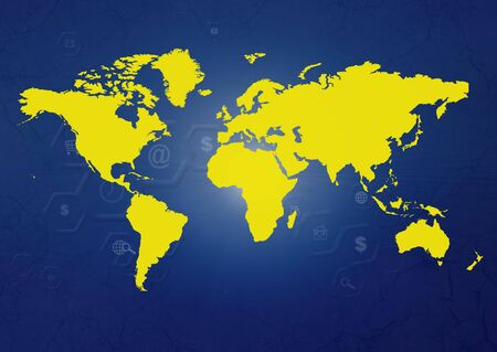 Yellow and blue abstract illustration background with map Stock Illustration - 3941063