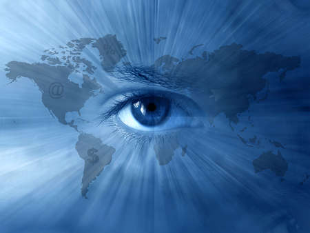 Continental  abstract wallpaper with world-map and  blue eyes Stock Photo - 3978419