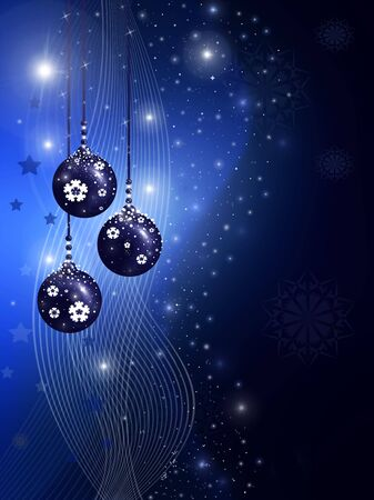 Blue christmas illustration with balls, stars and snowflakes