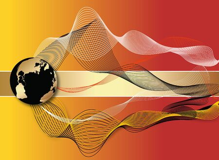 Abstract colorful illustration with globe and waves  Stock Illustration - 4085219