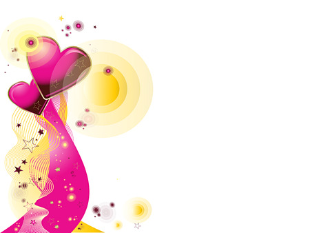 star background: Valentines vector illustrated background with hearts and stars