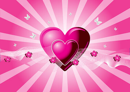 Vector Valentines illustration with hearts, flowers and butterfiles Vector