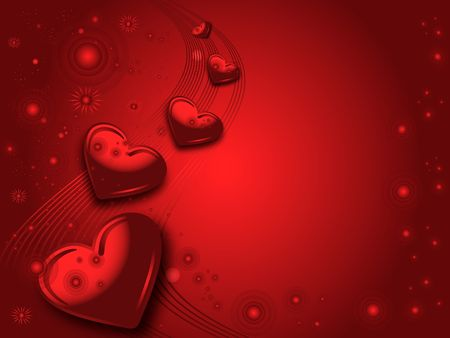 Red valentines illustraited background with hearts and wave