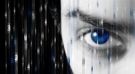 Abstract background with figures in movement and a blue eye photo