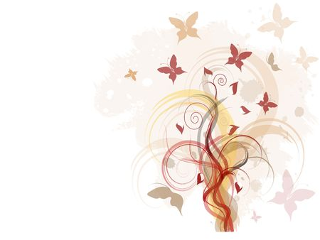 Grunge background with floral ornament and butterfiles photo