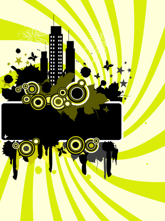 Vertical green and black grunge summers background  Vector