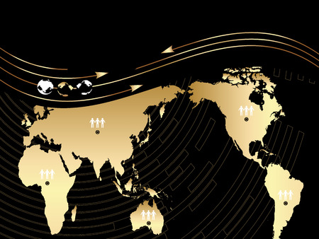 Vector Background with a map of the world, wave and globe Stock Vector - 4519809