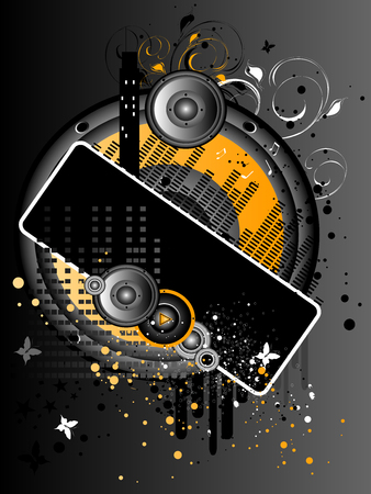 grunge music background: Vectores verticales Gris Naranja Grunge y M�sica de fondo