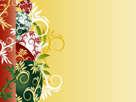 seasonable: background with colorfui Easter Eggs and floral ornament