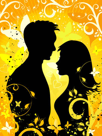 the enamoured: Summer Background with silhouettes of enamoured pair and  ornaments