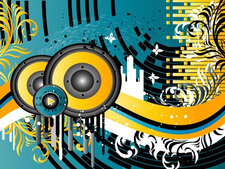 boite a musique: Vector Grunge Background Music avec des colonnes et des silhouettes de b�timents