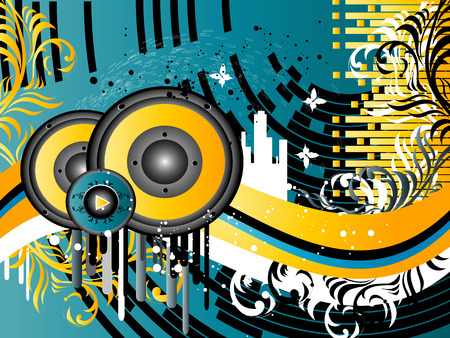 technology background: Vector Grunge Music Background with columns and silhouettes buildings Illustration