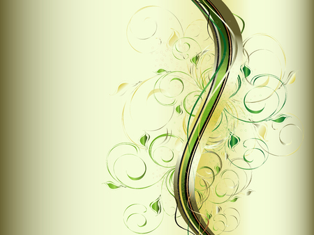 Vector abstract  background with colorful wave and floral ornament