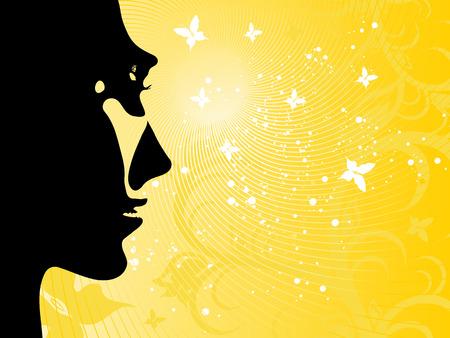 konturen: Illustrated Hintergrund Sommer mit der Sonne, eine Silhouette des Gesichts des M�dchens und Schmetterlinge Illustration