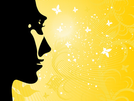 Illustrated summer background with the sun; a silhouette of the face of the girl and butterflies