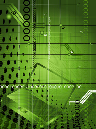 Abstract technological background with coordinates, figures and computer Illustration