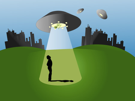 Colorful vector Illustration with UFO; alien and silhouette of the earthman
