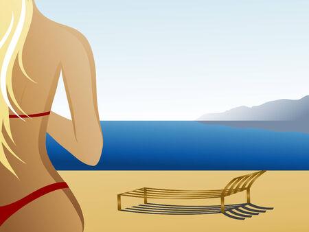 warmly: Girl on a beach  Illustration