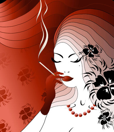 The illustration about smoking long cigarette secular noblewoman
