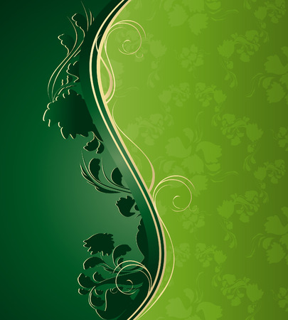 Illustration with decorative seamless royal ornament and floral wave Vector
