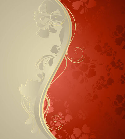 Illustration with decorative seamless royal ornament and floral wave