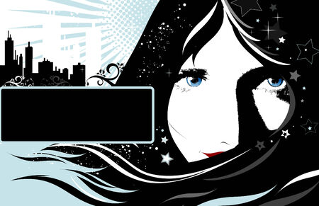 Background with place for the text with girls face and stars Vector