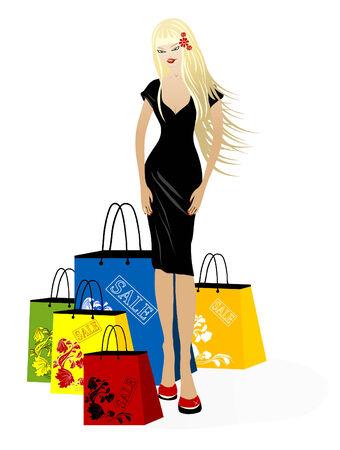 mujer feliz fondo blanco: Vector hermosa joven rubia con las compras Vectores