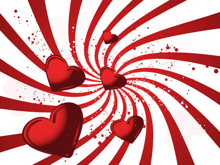 Red valentines illustraited background with hearts and wave Vector