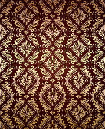 bordo: Vector decorative golden seamless floral ornament on a dark-red background