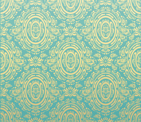 Vector blue and gold decorative royal seamless floral ornament