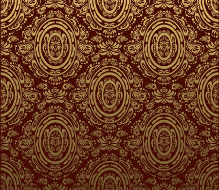 Vector red and gold decorative royal seamless floral ornament