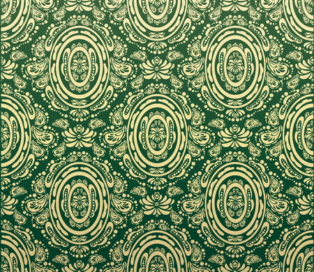 Vector green and gold decorative royal seamless floral ornament Vector