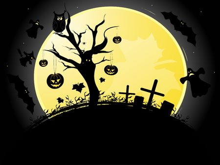 moon  owl  silhouette: Halloween illustration background with moon, tree, bats, witch and pumpkin