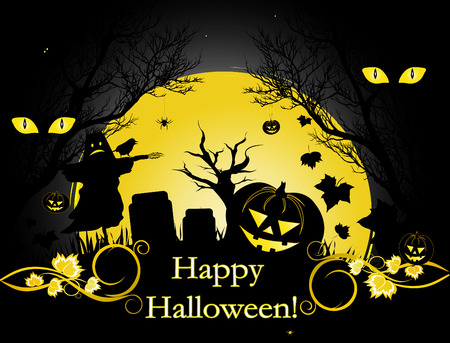 Halloween illustration background with moon, trees and pumpkin Stock Vector - 5587404