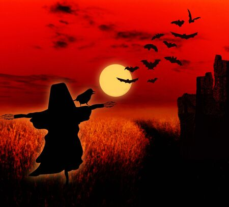 Halloween illustration background with full moon, ruin and scarecrow illustration