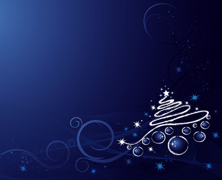 Christmas background with tree, balls, stars and ornament