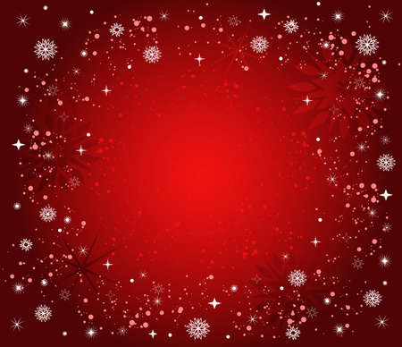 Christmas background with stars, snow and snowflakes