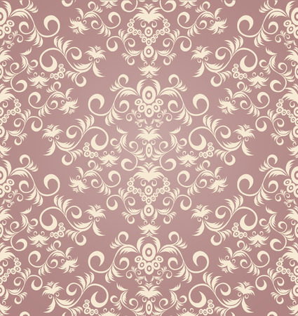 Decorative lilac royal seamless floral ornament Vectores